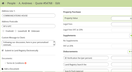 Hoowla Conveyancing Calculator Edit Quotes